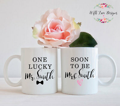 Set Of 2 Mugs One Lucky Mr And Mrs Engagement Bride To Be Mug Cup Present Gift