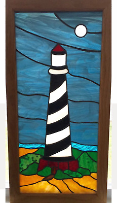 """Vintage Window Panel 14""""W x 28""""L Lighthouse Stained Glass"""