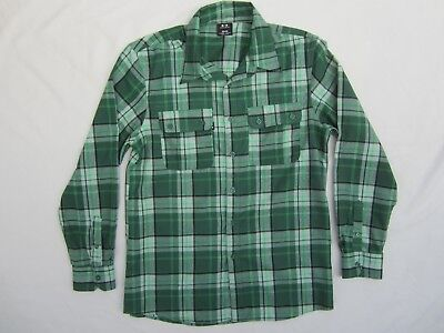 New OAKLEY LOFTY AMBITIONS L/S FLANNEL SHIRT Men's M Med CHECKER PLAID Green Blk