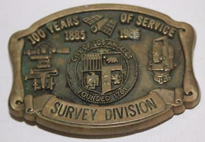 100 Years Of Service Survey Division 1885-1985 Belt Buckle City of Los Angeles