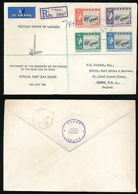 Uganda 1962 River Nile Set First Day Cover Airmail Registered