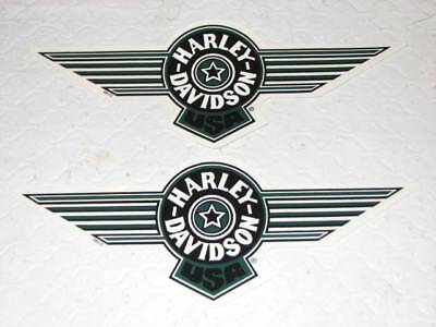 "Harley Davidson Pair Green Fat Boy Tank Decals Sticker 8"" X 3"" (Outside) New"