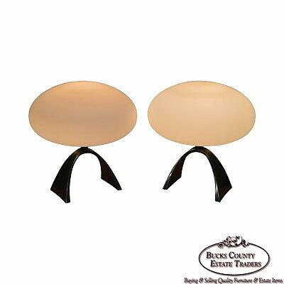 Laurel Lamp Co. MCM Pair of Mushroom Table Lamps w/ Arched Chrome Bases
