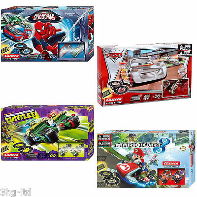 Slot Racing Set by Carrera Disney Cars Spiderman Super Mario Ninja Turtles NEW