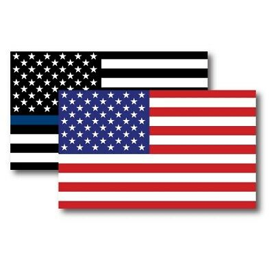 American Flag/American Flag Thin Blue Line Magnets 3x5 Combo Pack for Car/Fridge