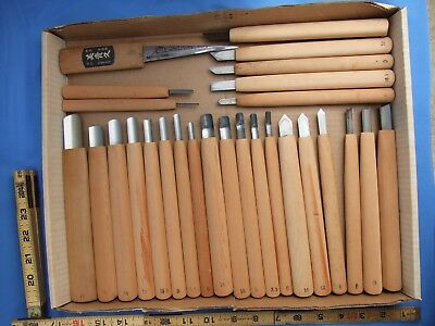27 Japanese Wood Carving Chisels, Knifes.