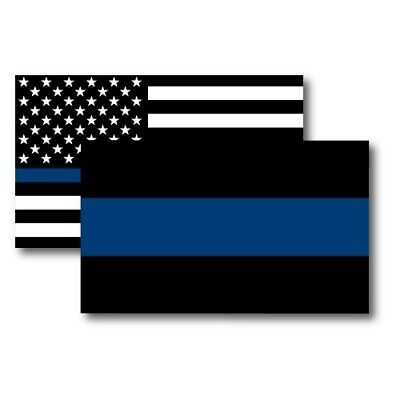 Thin Blue Line/Thin Blue Line American Flag Magnets 3x5 inch Combo Pack for Car