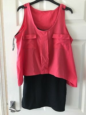 Ladies Apricot 2 In 1 Layered Dress Size M 12/14 BNWT