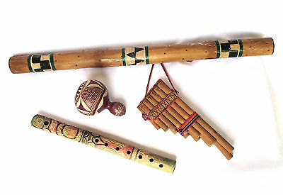 Native American Old Wooden Musical Instruments, Rain Stick Flutes and Rattle