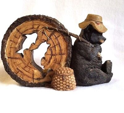 "Black Bear Candle Holder Fishing Creel Log Rustic Cabin Decor  6"" x 9"""
