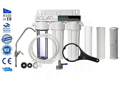 Premium 3 Stage Under Sink Ceramic Water Purifier and Dechlorinator Filter Kit