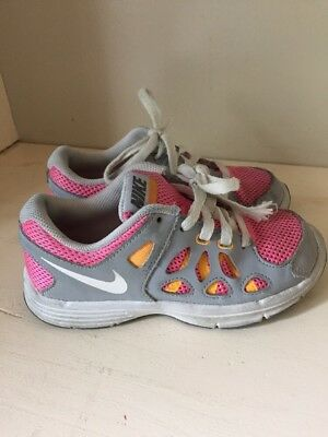 Nike Fusion Run Size 13 Youth Girls Shoes Gray Pink Orange