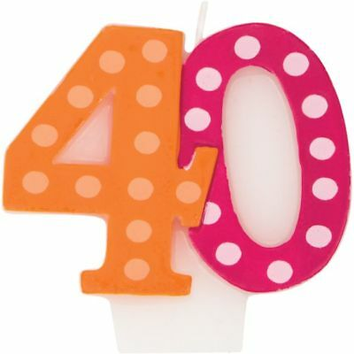 Bright & Bold 40th Birthday Candle Birthday Party Decoration