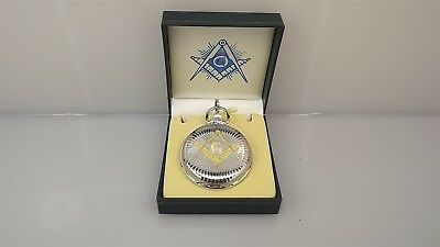 New Masonic Mason Pocket Watch Gold & Silver Tone Square & Compass