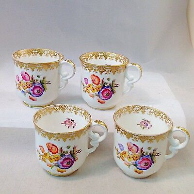 Copeland Set of Four Coffee Cups Hand Painted Flowers Pattern 6965 Antique