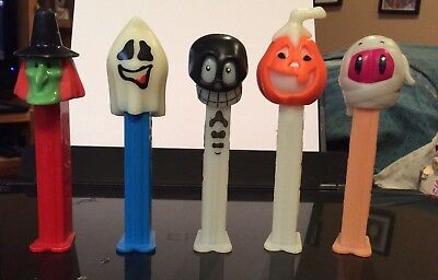 5 Pez Dispensers Halloween - Pumpkin, Witch, Skull, Ghost, Mummy