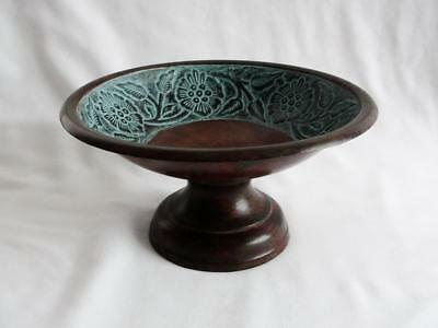Vintage Turquoise Colored Design Metal and Wood Pedestal Bowl Made in India
