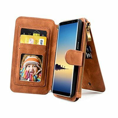 Samsung Galaxy Note 8 Case Wallet PU Leather Card Slot Detachable Strap ( Brown)