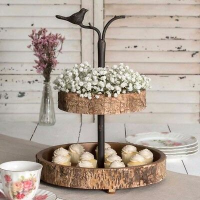 Unique French Country Primitive Rustic Vintage Bird and Birch Two Tiered Tray
