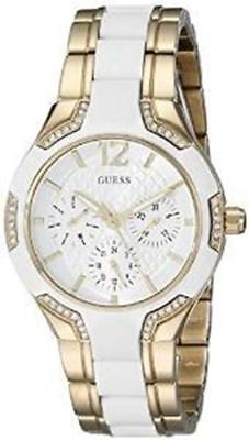 GUESS Women's U0556L2 Sporty Gold-Tone Watch with White Dial , Crystal-Accented