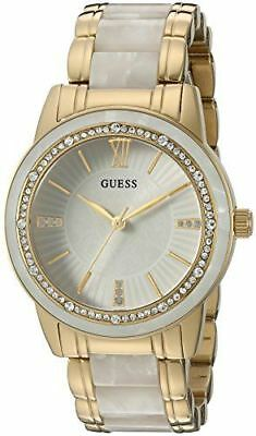 GUESS Women's U0706L3 Dressy Gold-Tone Watch with White Dial , Crystal-Accented