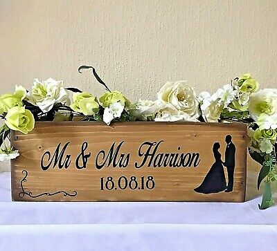 Mr Mrs Flower Box Rustic Wedding Eco Table Centerpiece Personalized Wooden Crate 21 50 Picclick Uk