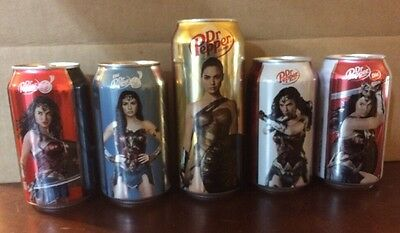 Dr Pepper WONDER WOMAN Set Of 5 Cans 2017 Movie - 12 Oz & 16 Oz - Bottom Opened