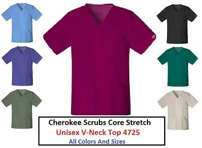 ec6fa1d8e57 Cherokee Unisex Scrubs Core Stretch V-Neck Top 4725 All Colors And Sizes NWT