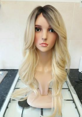 Lace Front Blonde Human Hair Wig, Real Hair, Hair Blend, Long, Ombré, Dark Roots