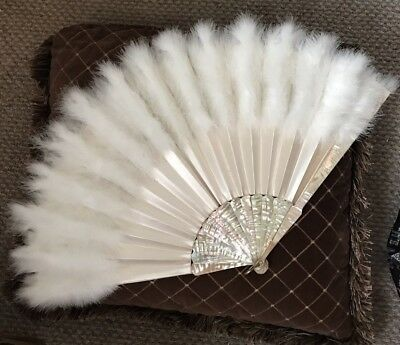 """Victorian 14"""" Fan Mother Of Pearl Silk & Down Feathers"""