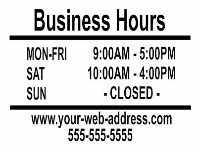 Custom Store Business Shop Opening Hours Vinyl Sign Decal - smaller sizes