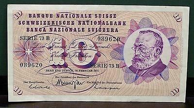Vintage Collectable Swiss 10 Franc Banknote February 1971