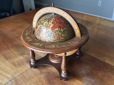 Vintage Italian Wooden Spinning Desk Globe with Beautiful Zodiac Designs!