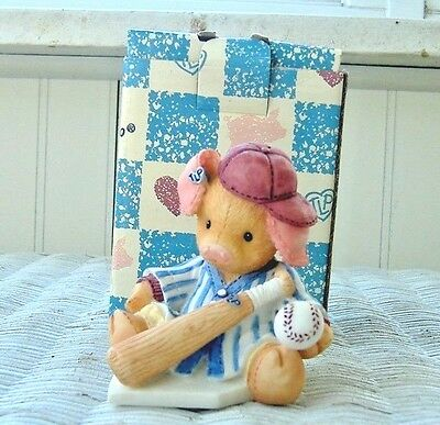 THIS LITTLE PIGGY ENESCO 1994 FIGURINE WENT Whee...ALL THE WAY HOME~Baseball Bat