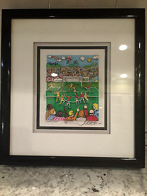 Soccer Charles Fazzino 3D POP ART Custom Framed FREE SHIP