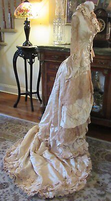Victorian 1883 Silk Satin Lace Wedding Dress & Shoes With Provenance