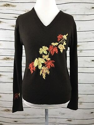 Vintage LeRoy Knitwear Fall Autumn Leaves Embroidery Brown Sweater Size L