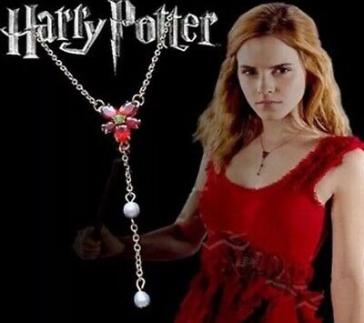 """Harry Potter Hermione Red Flower Necklace 3"""" US Seller"""