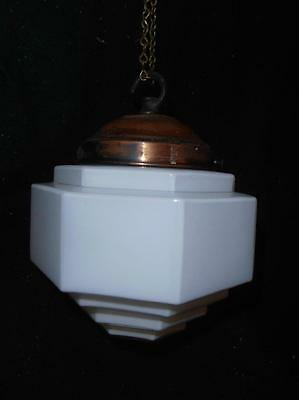 Art Deco White Opaline Glass Lamp Shade Pendant with Metal Top Fitting