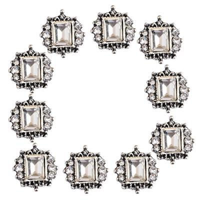 10pcs Square Flatback Crystal Rhinestone Flat Back Embellishment DIY Buttons