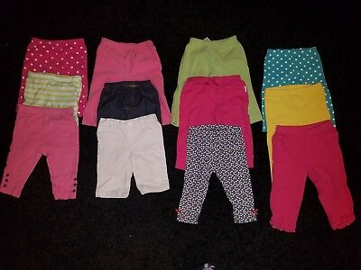 Lot Of 12 Pairs Of Baby Girl Pants And Leggings Size 3-6 Months Various Brands