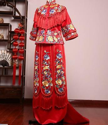 Red embroidery Wedding Gown Brides Dress Chinese ancient wedding gown