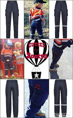CutiesByZootys Kids Hi Vis Work Pants 100% Cotton Range of Sizes