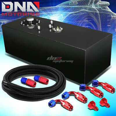 15 Gallon Top-Feed Coated Race Fuel Cell Tank+Cap+Level Sender+Steel Line Kit