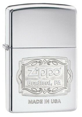 Zippo 29521 Bradford PA High Polish Chrome Finish Full Size Lighter