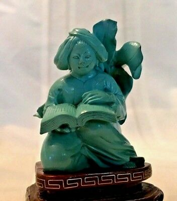 Antique Chinese Carved Turquoise Figurine Female Holding Book with Stand