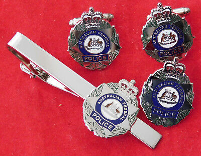 Australian Federal Police Jewellery Set Enamel & Nickel Plated  25Mm High Social