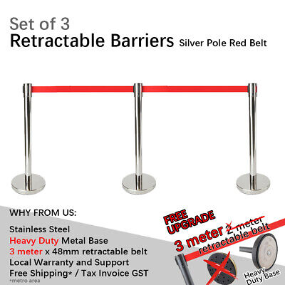 3 x 3m Retractable Queue Crowd Barriers Crowd Control (Silver Pole & Red Belt)