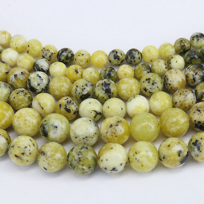"15"" Natural Yellow Turquoise Gemstone Round Loose Spacer Beads Finding 4-10mm"
