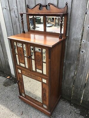 Victorian Aesthetic period Walnut glazed  music  cabinet